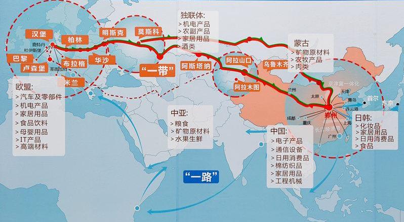 中欧班列线路图